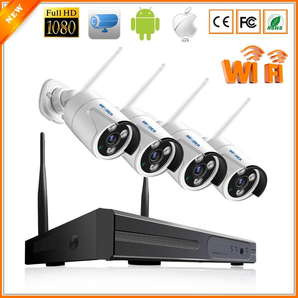 BESDER 4CH WiFi NVR Kit 1080 P IR Night Outdoor Waterdichte IP Camera WiFi 1080 P 2MP Real P2P Draadloze Surveillance CCTV systeem-in Bewakingssysteem van Veiligheid en bescherming op  Groep 1