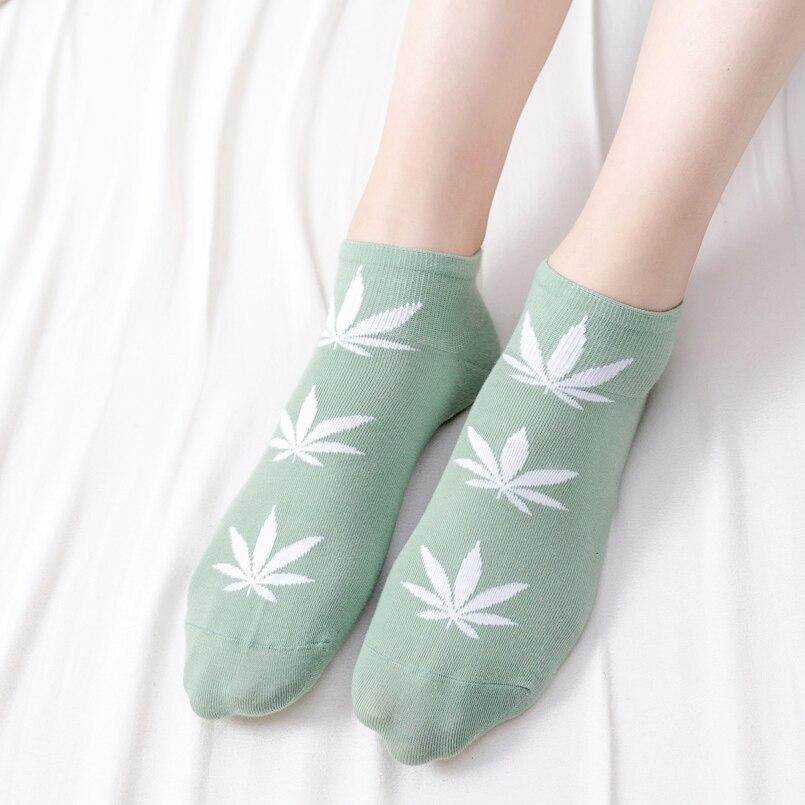 100Pairslot Summer Socks Women Cotton Ankle Happy Socks Funny Low Cut Socks For Ladies Maple Leaf Print Cute Harajuku Socks