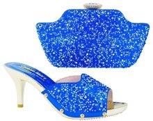 Wunderbare sommer design Italien Fashion royal blue farbe Schuhe Und Taschen Für Afrikanische Partei Oder Hochzeit mit high heel YN1-1