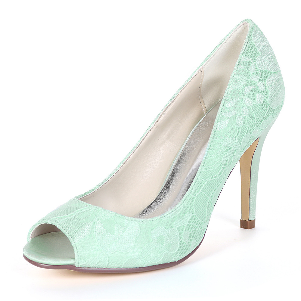 Creativesugar Concise Open Toe Sweet Lace Lady High Heels Bridal Wedding Prom Party Cocktail Fresh Color Dress Shoes Mint Green