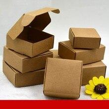 Коробка конфет из крафт бумаги, маленькая картонная коробка для упаковки бумаги, Подарочная Коробка для мыла ручной работы, 100 шт.