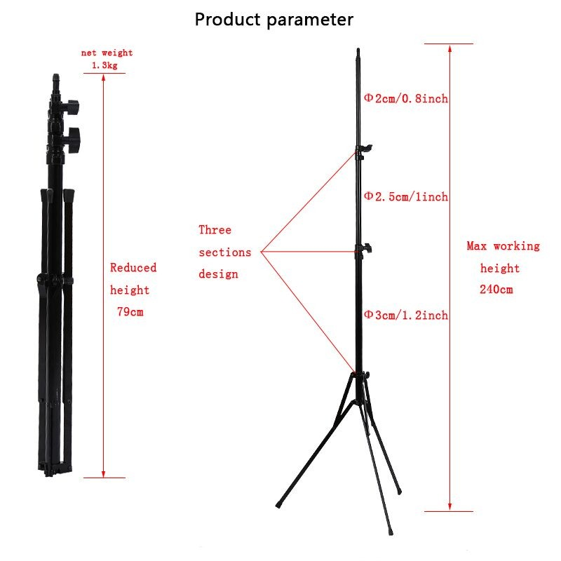 Photo Photography Studio 240cm/94.5inch thicken Light Stand Tripod Lamps Support Feet for Photo Video Lighting Lamps 3 sections