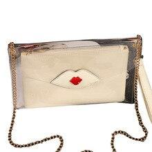 2016 Korean Fashion Leder Umschlag Kupplung frauen Kette Schulter Taschen Berühmte Designer Roten Lippen Geleebonbons Messenger Bags