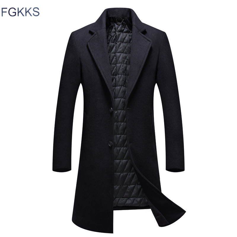 FGKKS Men Winter Wool Coat 2019 Men's New Fashion Solid Color Warm Thick Wool Blends Woolen Pea Coat Male Trench Coat Overcoat