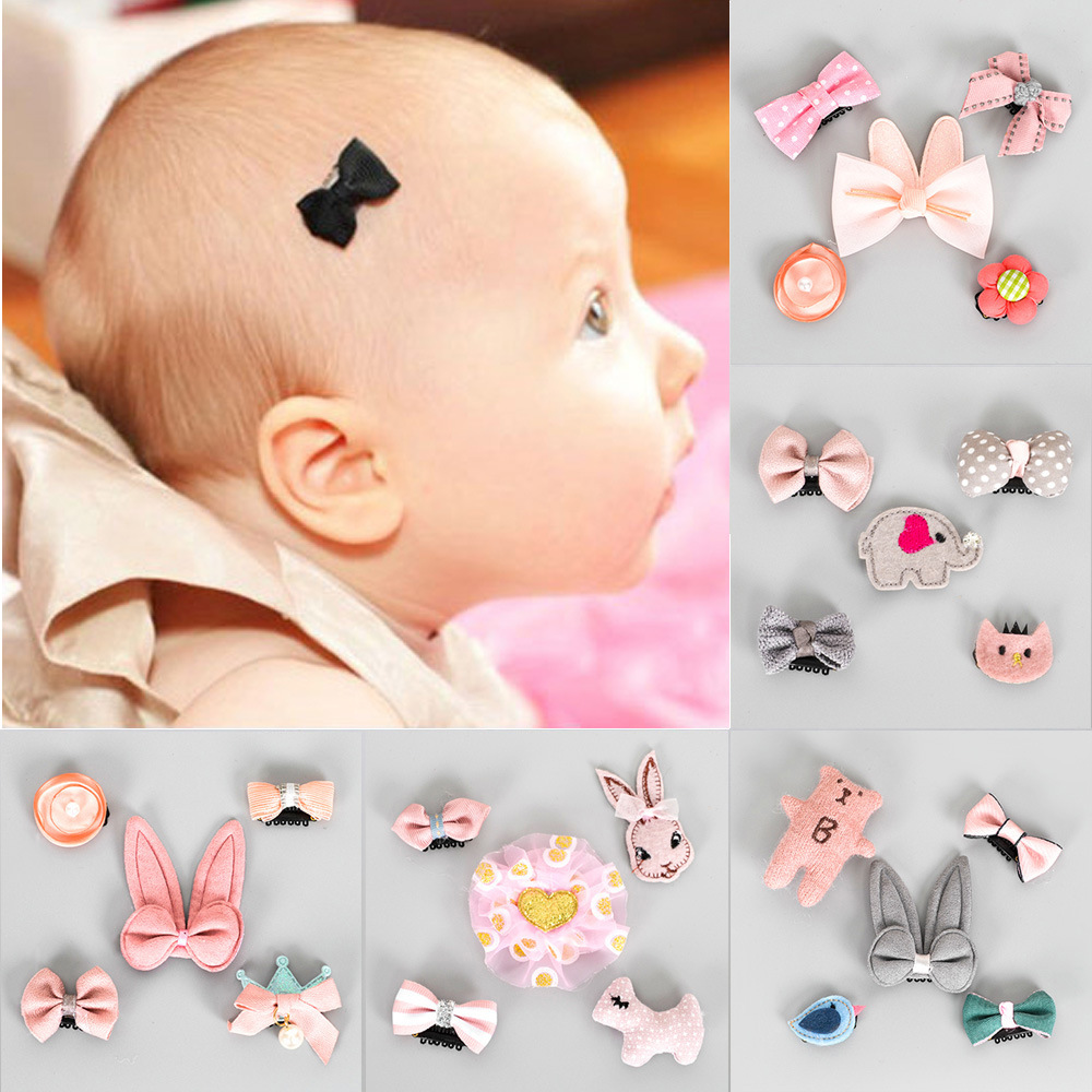5pcs/set Flower Bowknot Hairpins Baby Stars Hairclips Cartoon Hair Clips Kids Girls Handmade Barrettes Bebe Hair Accessories