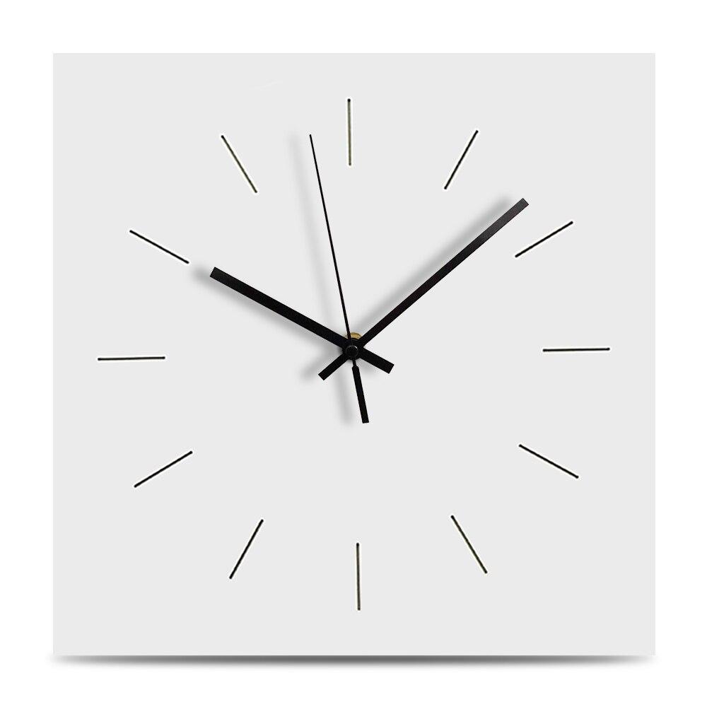 New Decorative Wood Wall Clock Modern Design Mute Square Living Room Clock Wood Hanging Wall Clocks Home Wall Decor