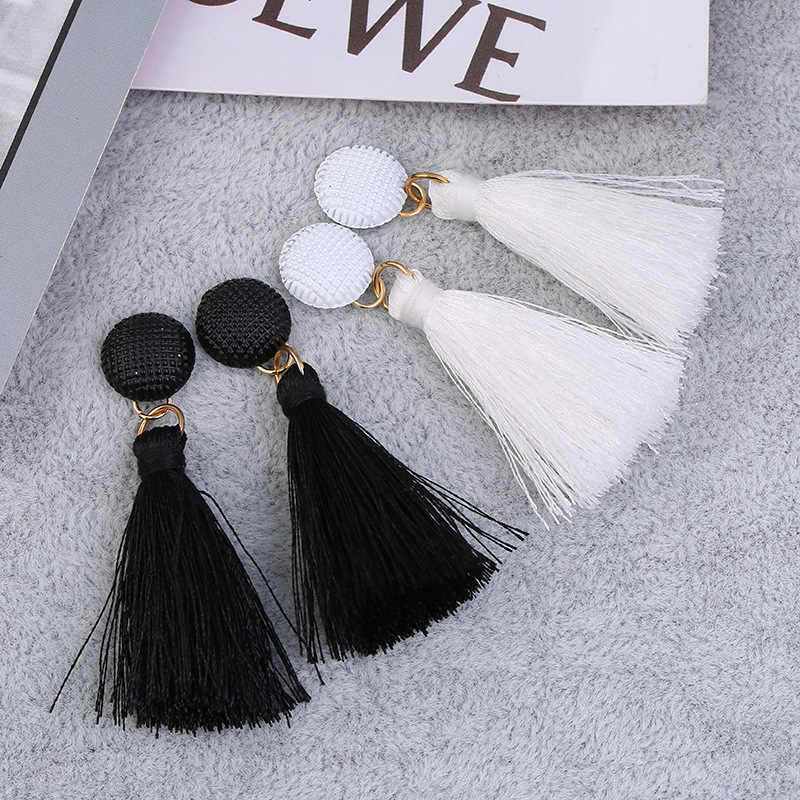 black white tassels wild earrings Personality fashion dangle earrings Korean temperament hypoallergenic drop earrings ladies