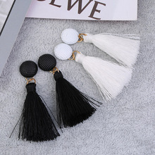 black white tassels wild earrings Personality fashion dangle Korean temperament hypoallergenic drop ladies