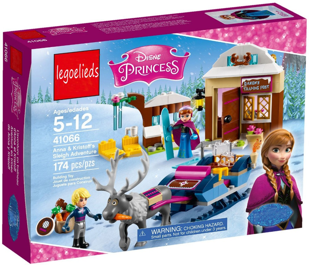 Friends For Girl Princess Anna and Kristoff's Sleigh Building Brick Blocks Set Gift Toys Compatible With Lepine 41066 2017 hot sale girls city dream house building brick blocks sets gift toys for children compatible with lepine friends