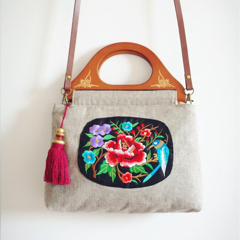 Handmade Women Bags Flower Bird Embroidery National Style Satchels Plum Peony Floral Chinese Style Cheongsam Bag Tassel WoodenHandmade Women Bags Flower Bird Embroidery National Style Satchels Plum Peony Floral Chinese Style Cheongsam Bag Tassel Wooden