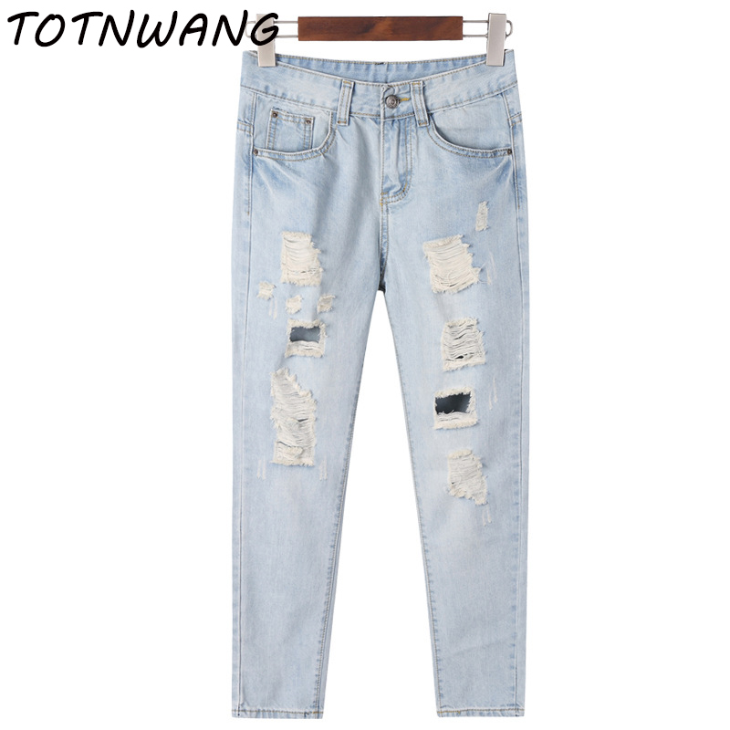 Europe and the United States Fashion Women`s Plus Size Mid Waist Washed Light Blue True Denim Pants Boyfriend Hole Harem Jeans hanlu europe and the united states women s super elastic lace lvkong denim trousers fashion comfortable feet pants