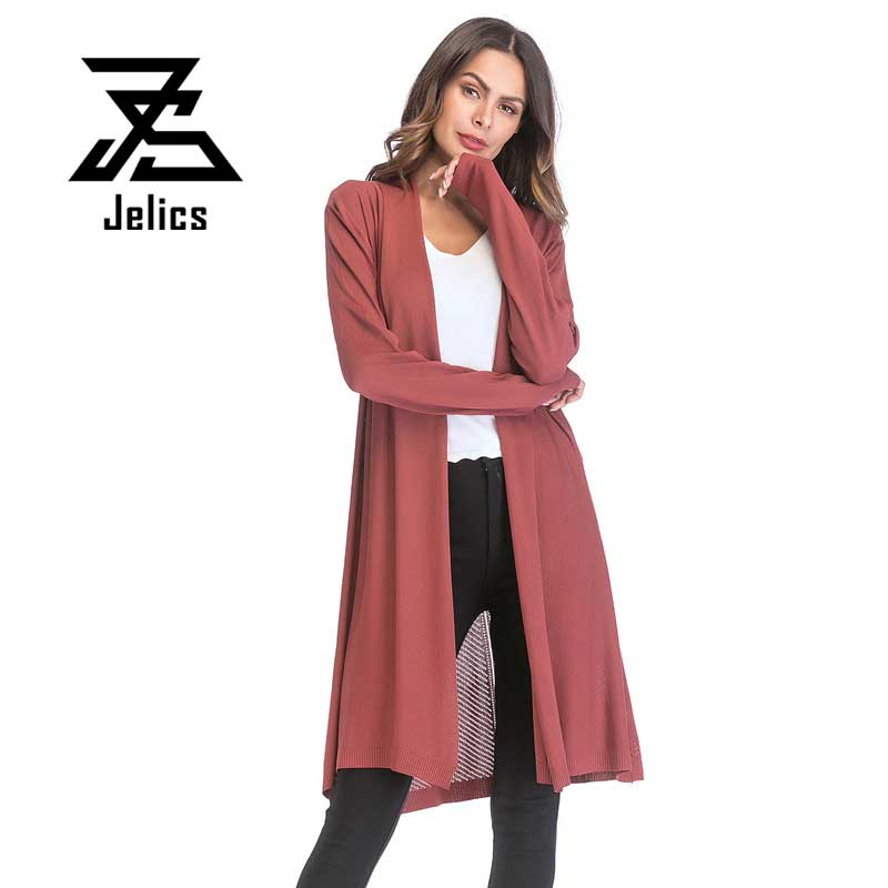 Jelics Spring Women Knitted Long Coat Solid Color Open Stitch Streetwear casual Slim Long Sleeve Female   Basic     Jacket