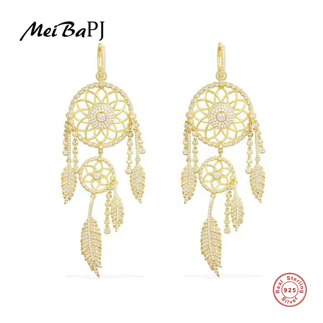 [MeiBaPJ]Real 925 Sterling Silver  Dreamer Drop Earrings for Women with AAA High Quality Stones Party Fine Jewelry