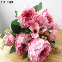Fashion big 9 peones artificial flower heads 1PCS Bouquet Silk peony Wedding Bouquet Artificial Flowers 3 Colors Available(China)