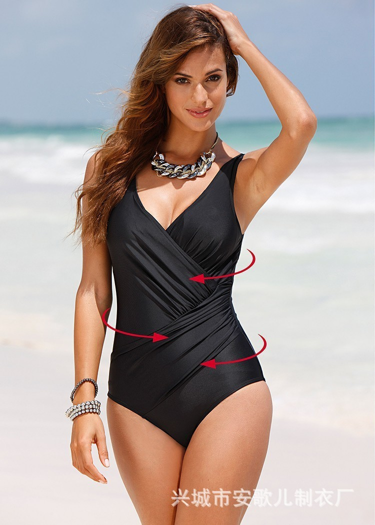 Swimwear Big Size Women 2018 Sexy Summer One Piece Solid Bathing Suit Push Up Plus Size Beach Wear Swimsuit black solid plus size swimwear sexy women one piece swimsuit high waist push up bathing suit retro tankini large size dress
