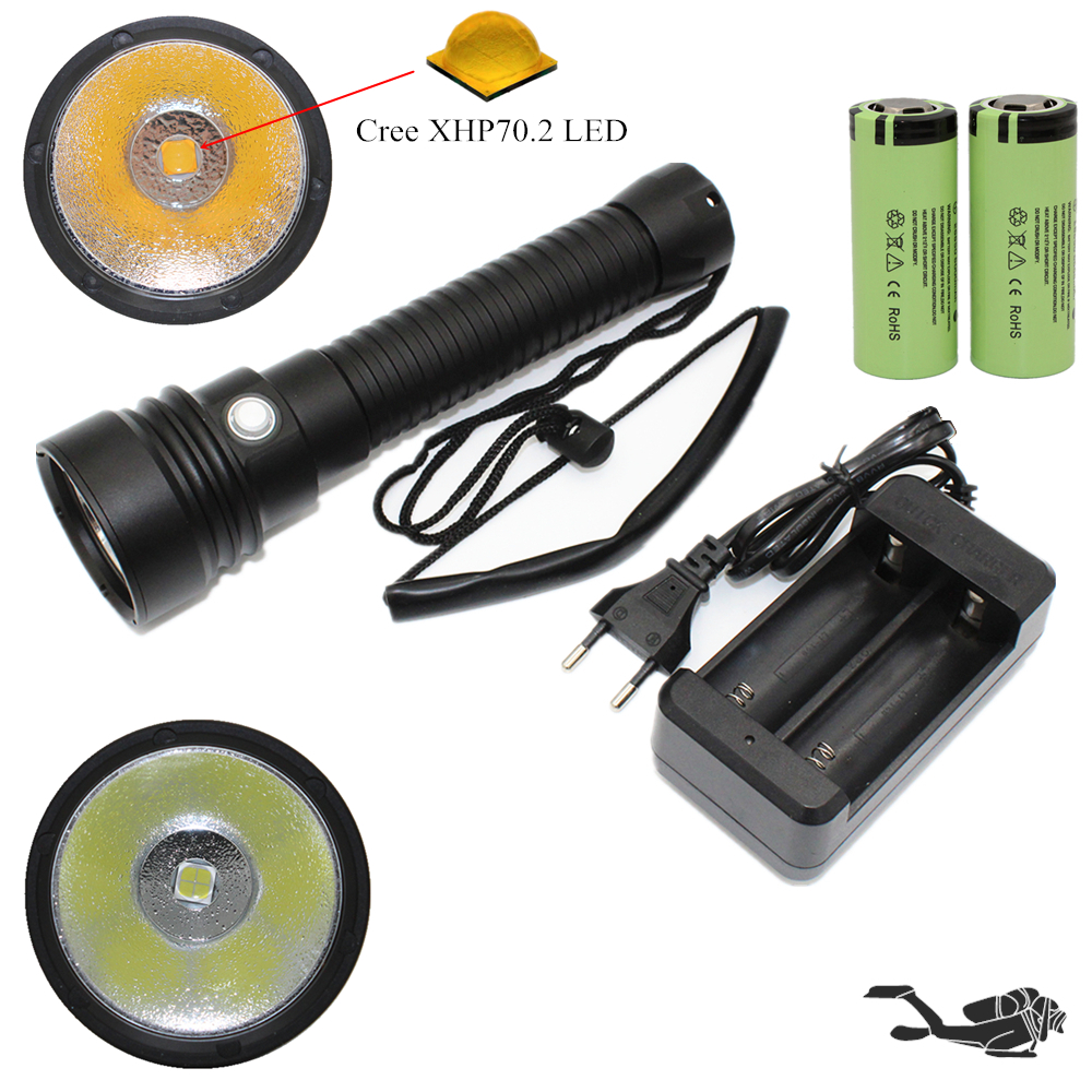 XHP70 Diving Flashlight 4000LM Underwater Torch CREE XHP70.2 LED Waterproof Lamp White/Yellow Light + 26650 Battery + Charger 3800lm cree xm l2 u2 led flashlight torch super bright diving torch lamp light underwater 50m professional waterproof lights
