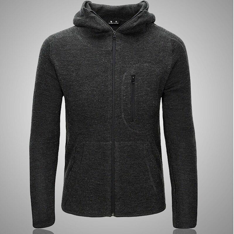 Automne hiver hommes mince à capuche tricoté sweat-shirt manteau en plein air Sport randonnée escalade doux Shell tactique tricot veste hauts