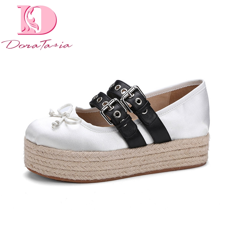 цена DoraTasia 2018 Spring Autumn Brand Sweet Silk Flat Platform Shoes Woman Bowtie Lovely School Women Shoes
