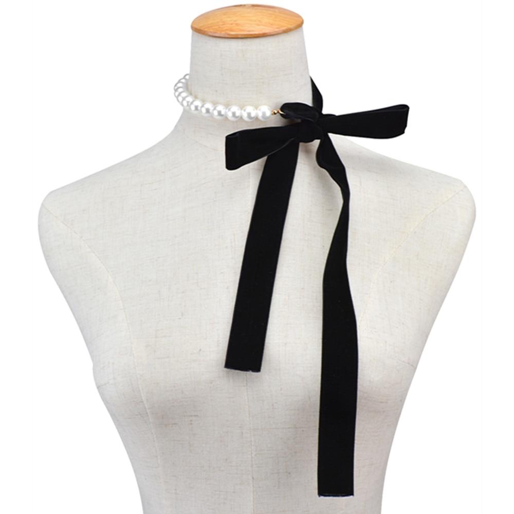 Punk long wide black velvet ribbon choker bow tie for Ribbon tie necklace jewelry
