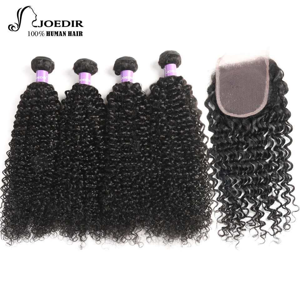 Joedir Non-Remy Mongolian Curly Human Hair With Closure Natural Color Hair Extention 4 Bundles Deal With Closure Free Shipping