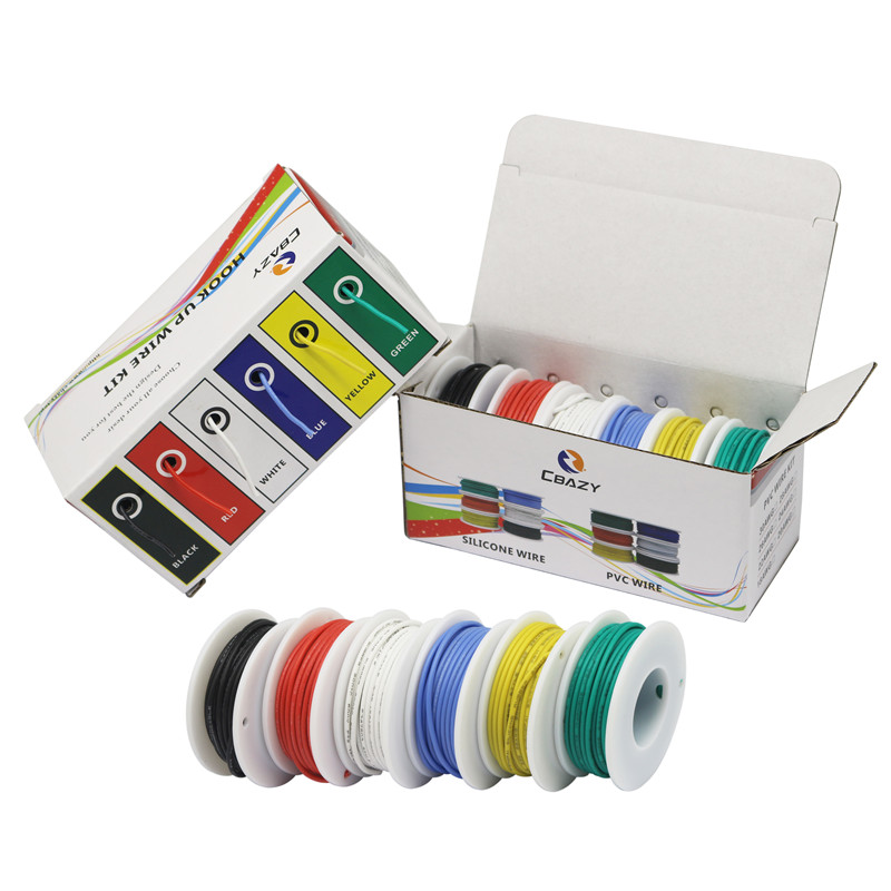 28AWG 60meters Flexible Silicone Rubber Cable Wire Tinned Copper line Kit mix 6 Colors Electrical Wire DIY in Wires Cables from Lights Lighting