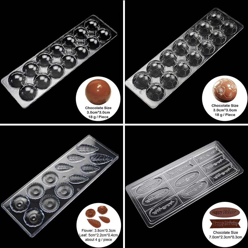 14 Holes Ball Polycarbonate Chocolate Moulds Plastic Pastry Tools Baking Accessories Love Shape Happy Birthday Baking Mold Z20 image