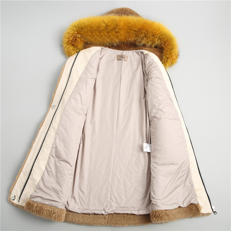 De Femelle Bonnet Fourrure Manteau Raton D'hiver Nouvelle Laine Camel Laveur Maylooks Et 18082 Fourrure Laine Automne Agneau FwnPqgY0v