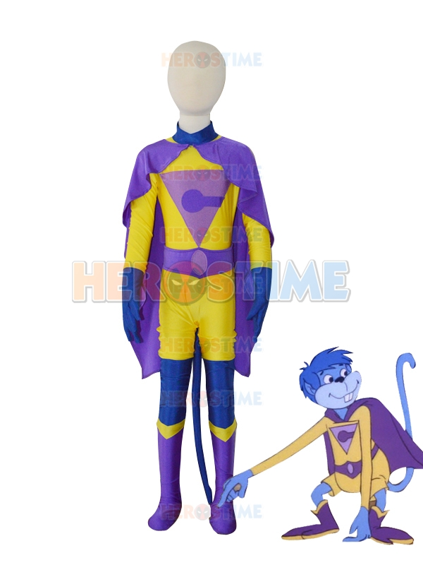 Kids Super Friends Gleek Costume Zentai Spandex Lycra Wonder Twins Children Superhero Costume with Tail and Cape