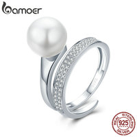 BAMOER Real 100 925 Sterling Silver Elegant Round Geometric Finger Rings For Women Anniversary Engagement Ring