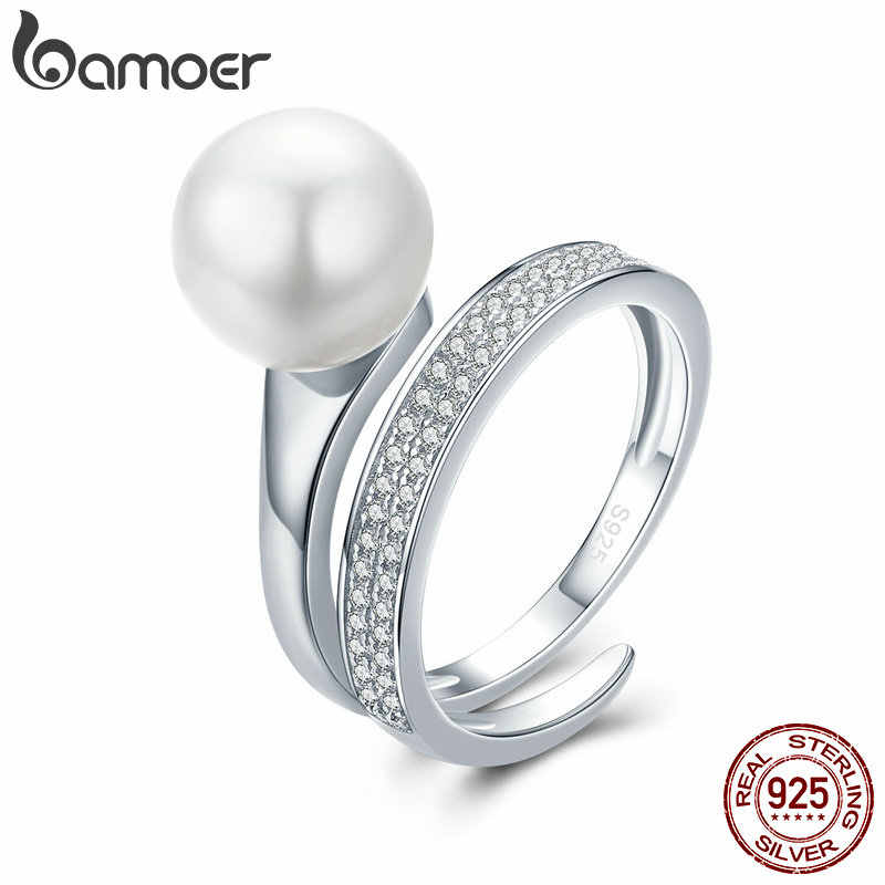 900332e11f BAMOER Real 100% 925 Sterling Silver Elegant Round Geometric Finger Rings  for Women Anniversary Engagement