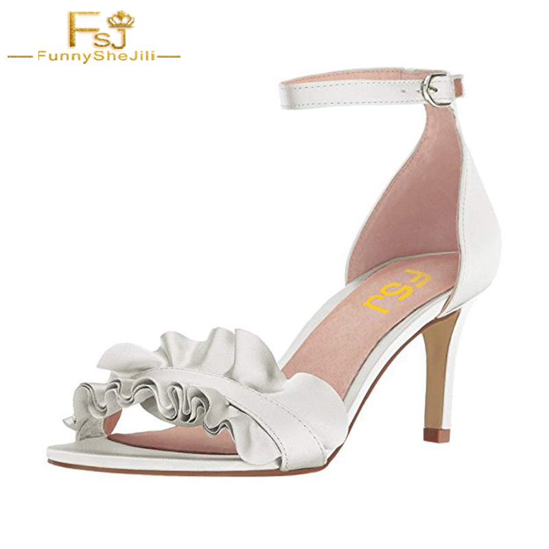 Summer Women Shoes Sandal Ruffles Ankle Strap Thin Heels Evening Party Causal Sweet Solid Elegant Large Size 12 New Designer FSJ