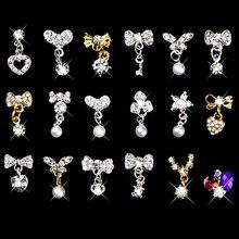 Серебристо-Золотой Цвет 3D украшения для дизайна ногтей, стразы, жемчужная подвеска, смешанные бабочки, сердце, галстук-бабочка, цветные стразы LRX