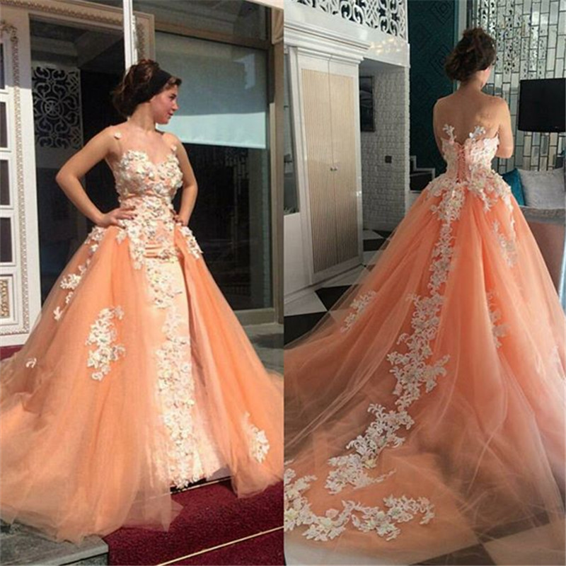Custom luxury 2016 new elegant white applique orange tulle for Black and orange wedding dresses