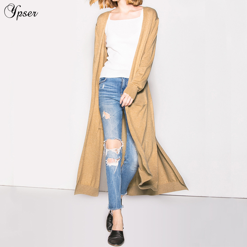 Casual Long Poche Femme Red Black Pour Pull Cardigan Avec brick Tricot Ypser Mode Femmes camel YwF5gRq