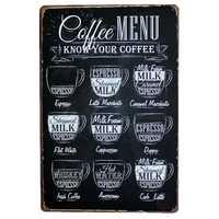 coffee drinks vintage tin Signs Bar Pub Home Wall Decor Retro Metal Art Poster Metal Plate Plaques decor art coffe menu