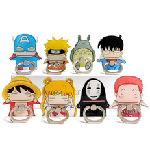 1Pcs/set Cute TOTORO Kaonashi Luffy Figure Metal Finger Ring Mobile Phone Smartphone Stand holder