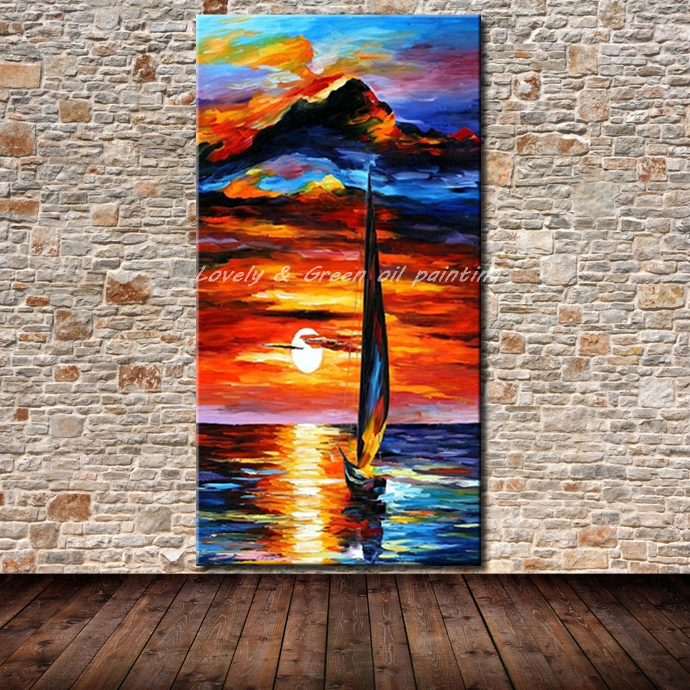Modern Abstract Hand-painted Art Oil Painting Wall Decor canvas,Boats No Frame