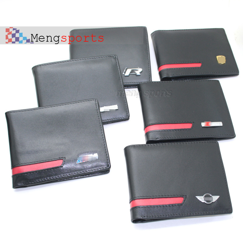 10pcs lots Wallet Real Leather Purse Car Card case 10 Cards Wallet Case Emblem Badges Metal Logo with BOX Shipping Free