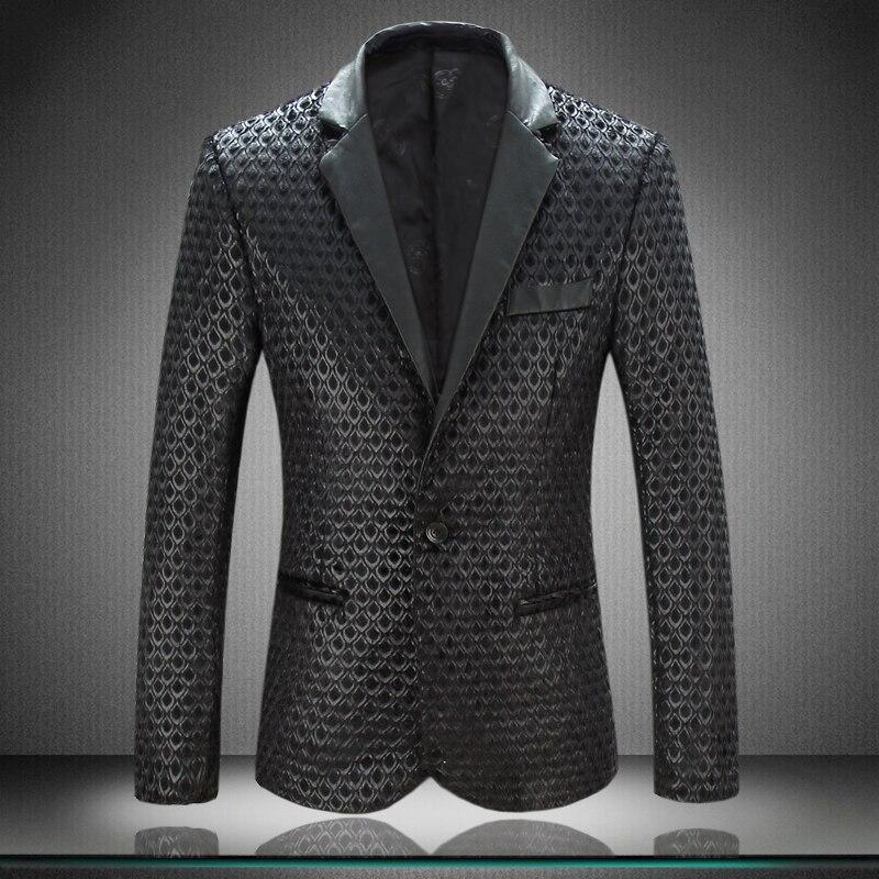 Men Blazer Jacket 2017 New Arrival Mens Designer Blazers Faux Leather  Spliced Velvet Suit Fashion Brand Leather Blazer For Men-in Blazers from  Menu0027s ...