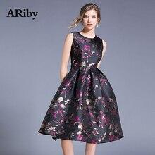 ARiby Women Summer Fashion Vest Dress Printed O-Collar Dress 2019 New Vintage Temperament Sleeveless Dress Ball Gown Tank Dress