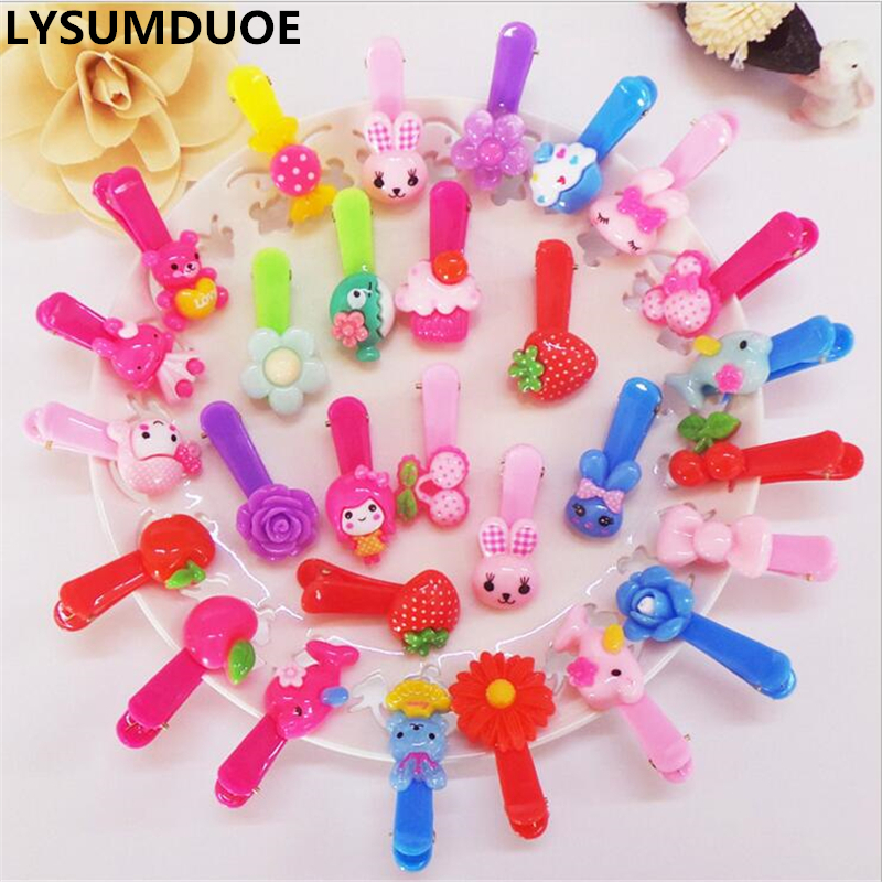 Fashion Kawaii hair clip Rabbit Bow Flower Hairpin Solid Children Girls Hair Clips Headband Baby Barrette Resin Hairpins 10pcs