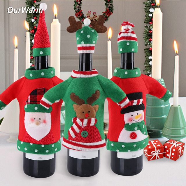 Buy Ourwarm 3pcs Red Wine Bottle Cover New Year 39 S Products Christmas Party