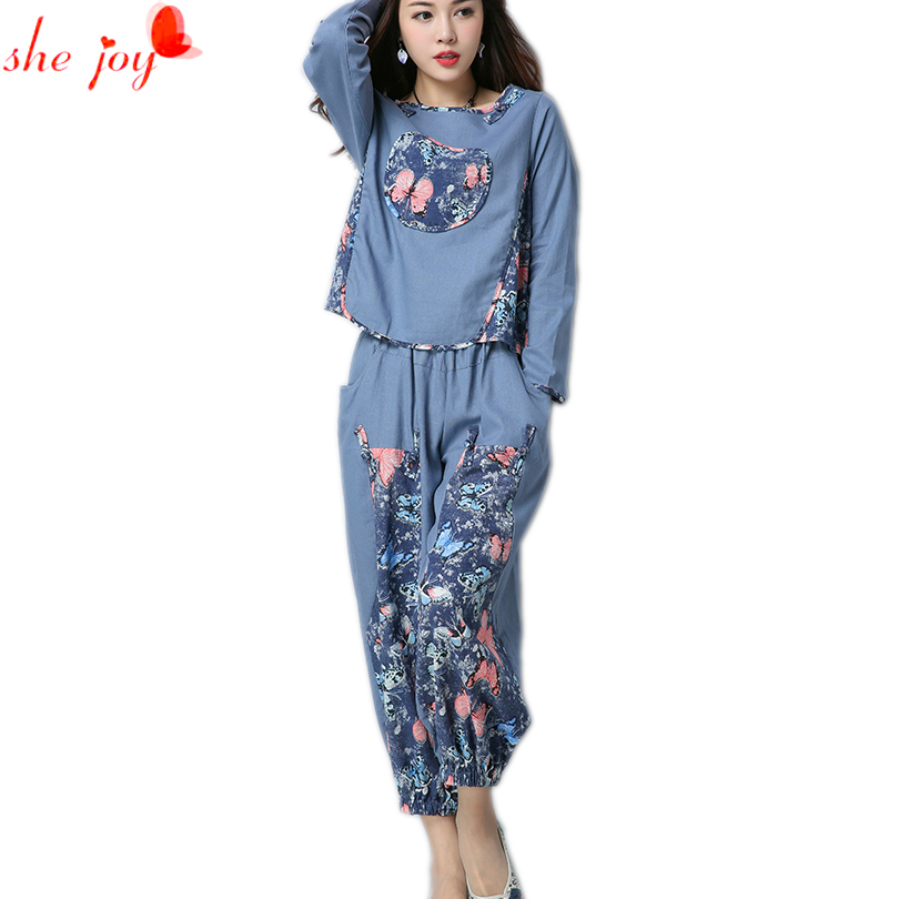 Autumn Women 2pc Set Indie Flok Ethnic Women's Sets Two Piece Shirt + Pants Female Suit Tracksuit Long Sleeve Top and Trousers