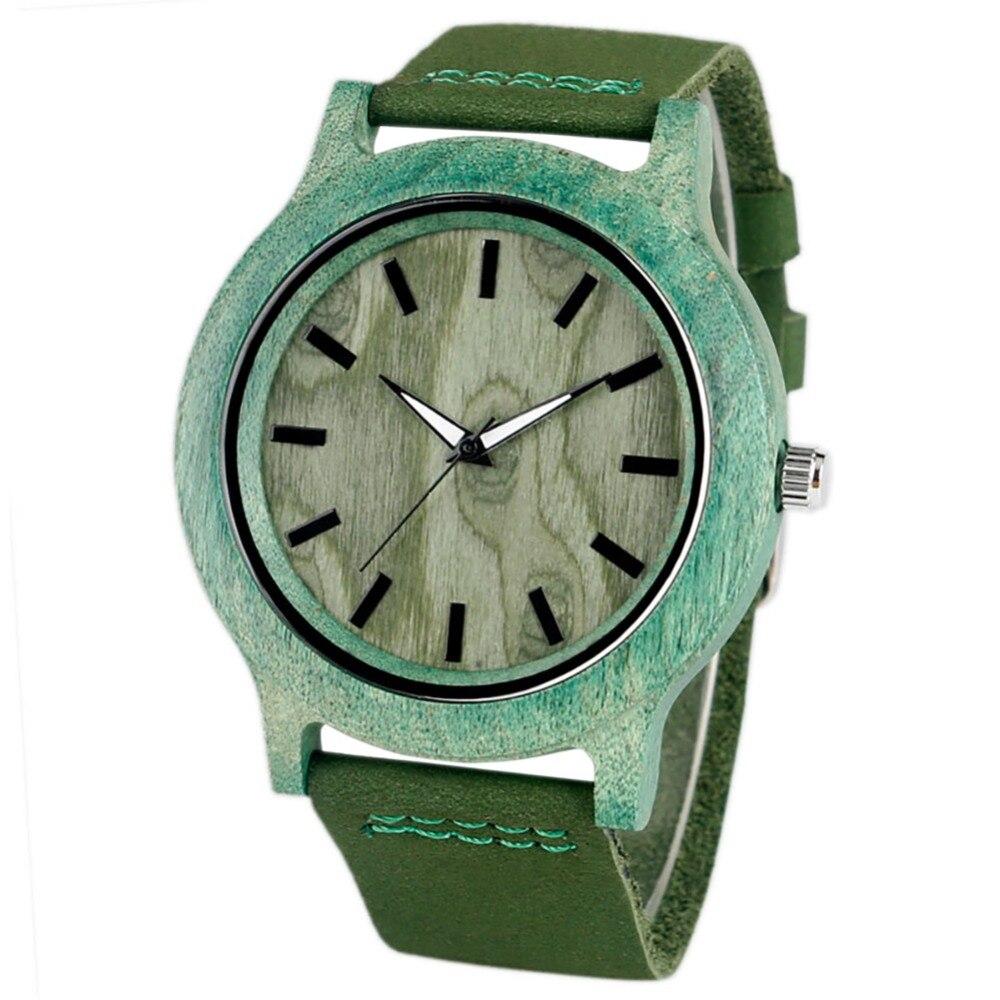 Women Watch Light Bamboo Wood Case Clock Fashion Green Lucky Red Soft Leather Band Analog Quartz Watch Women's Wrist Reloj Mujer