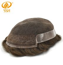 SSH Remy Hair Mens Toupee Fine French Lace Poly Around Hairpieces Human Hair Durable Man Wig Replacements(China)