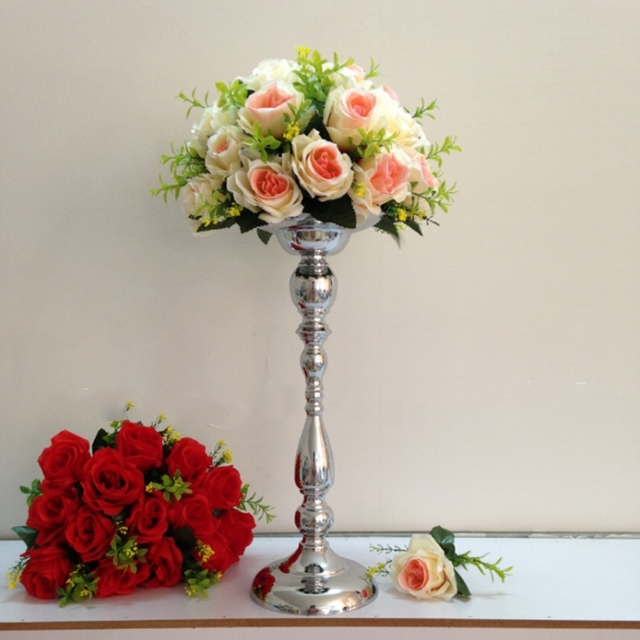 Aliexpress Buy 45cm Tall Silver Flower Stand Metal Flower