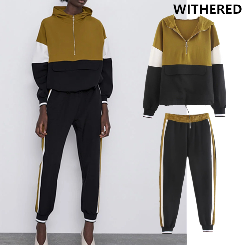 Withered Two Piece Set Patchwrok Kangaroo Suit England Colour Collision Hooded Jacket Jogger Pants Conjuntos De Mujer Blazers