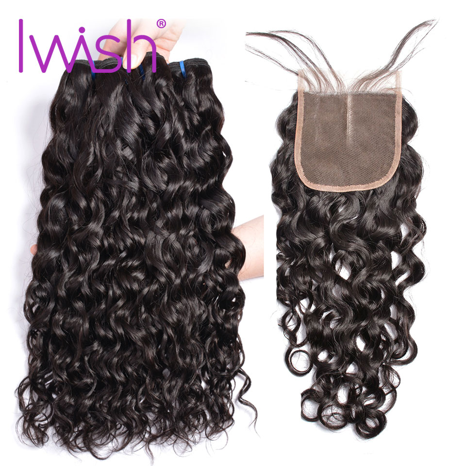 Iwish Malaysia Water Wave 3 Bundles With Closure Human Hair water wave bundles with lace closure Non Remy Hair extension