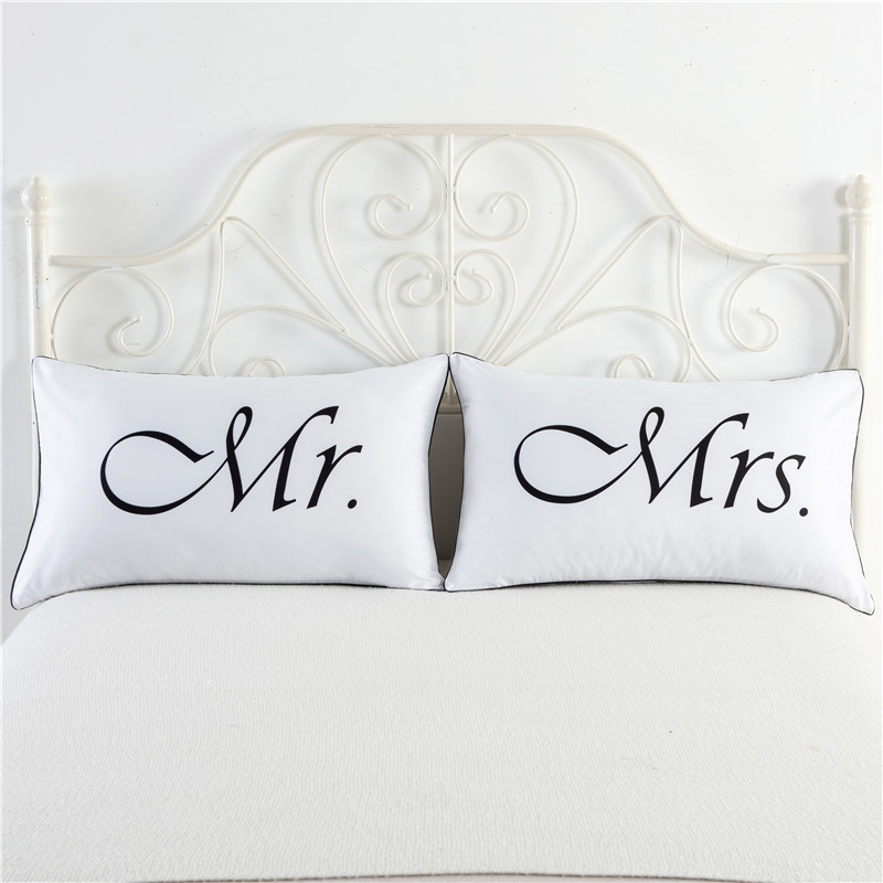 Cuscini Mr Mrs.Creative Gift White Romantic Mr Mrs Couple Pillowcase King Queen