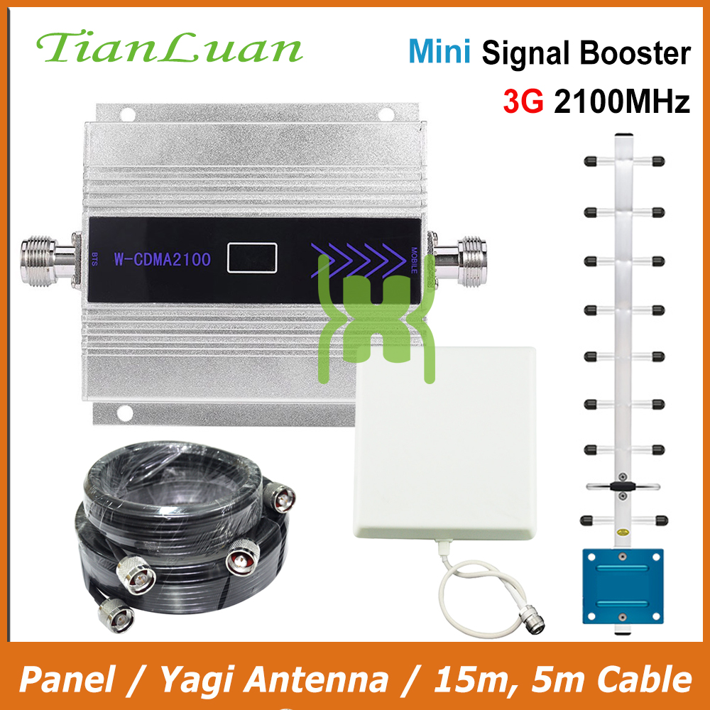 TianLuan Mini W CDMA 2100MHz Signal Booster 3G Mobile Phone Signal Repeater with Panel Antenna Yagi